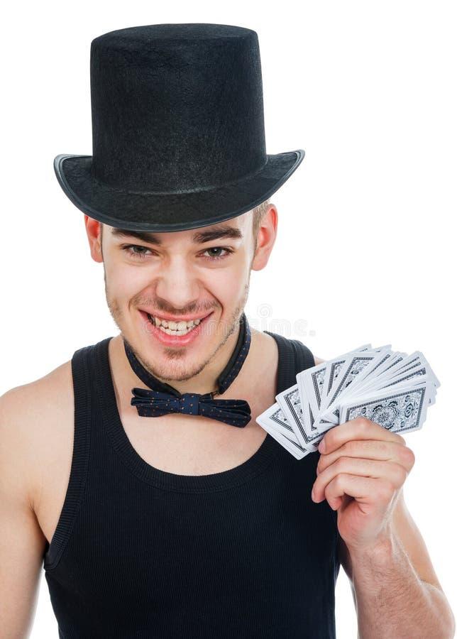Homem com cartões do jogo imagens de stock