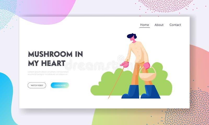 Homem com cesta e vara que procura cogumelos em Forest Website Landing Page, Autumn Season Activity, pessoa que anda na floresta ilustração stock