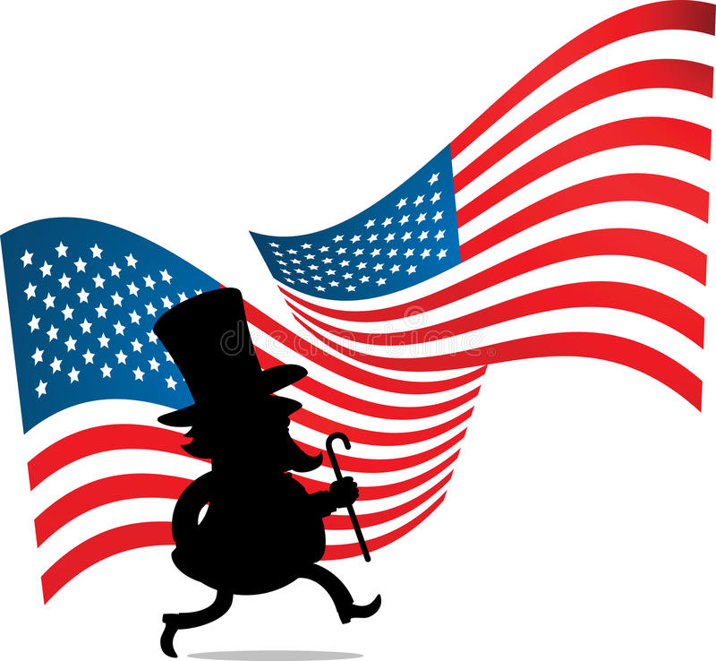 Homem com chapéu grande e bandeira dos E.U. ilustração stock