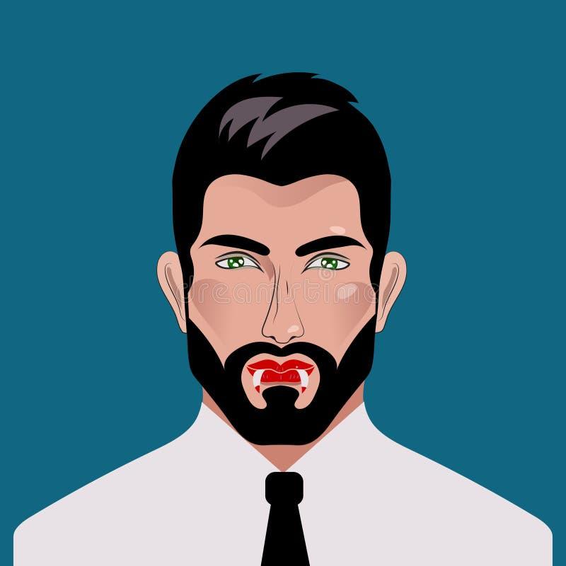 Homem com colmilhos do vampiro ilustração royalty free
