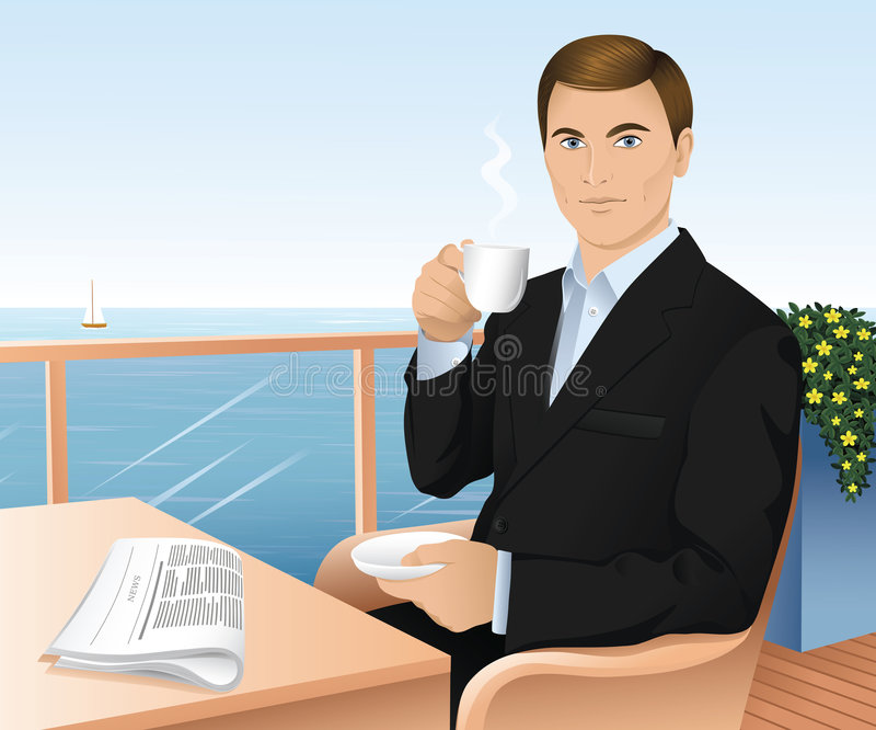 Homem com copo. ilustração stock