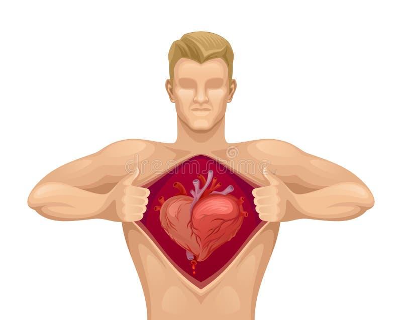 Homem com coração ilustração royalty free
