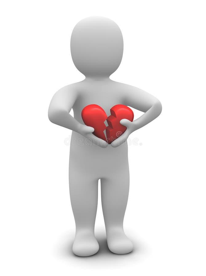Homem com coração quebrado ilustração do vetor