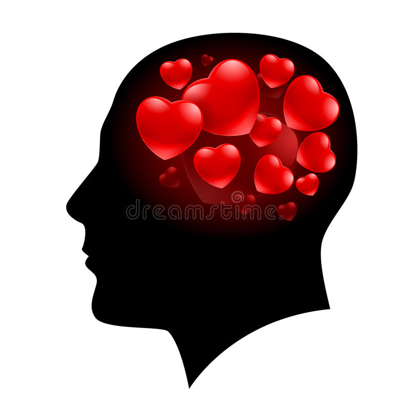 Homem com corações ilustração do vetor