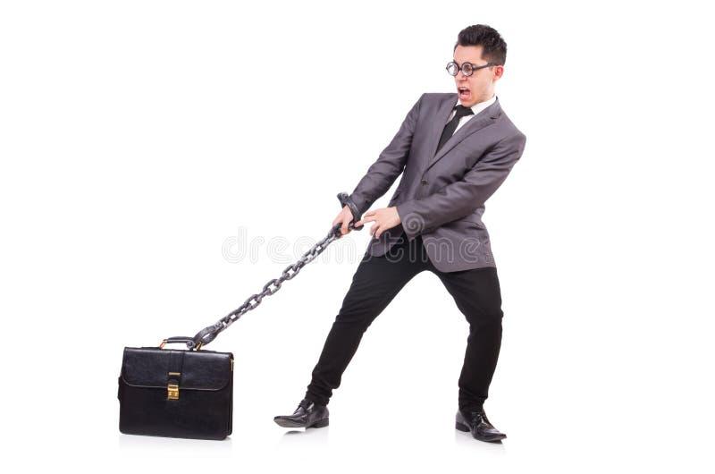 Homem com a corrente isolada imagens de stock
