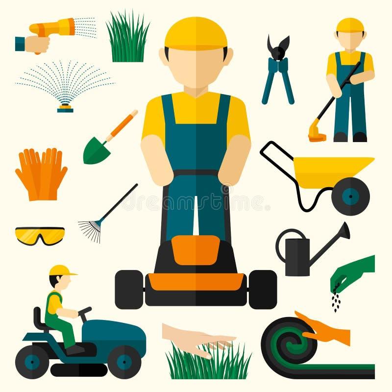 Homem com cortador de grama ilustração stock