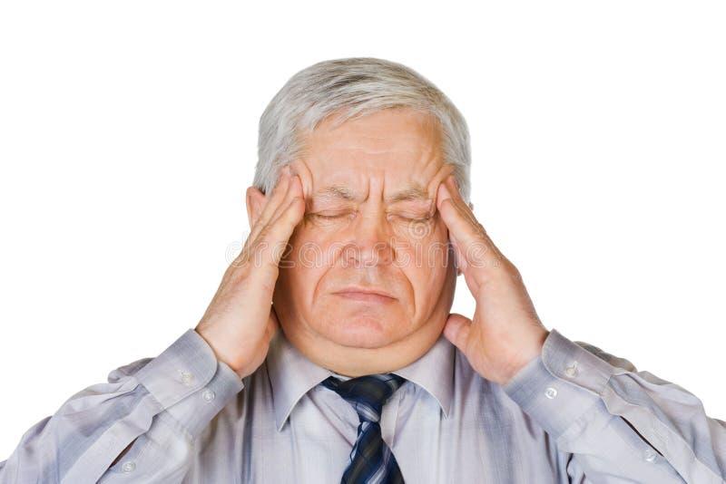 Homem com dor de cabeça fotos de stock royalty free