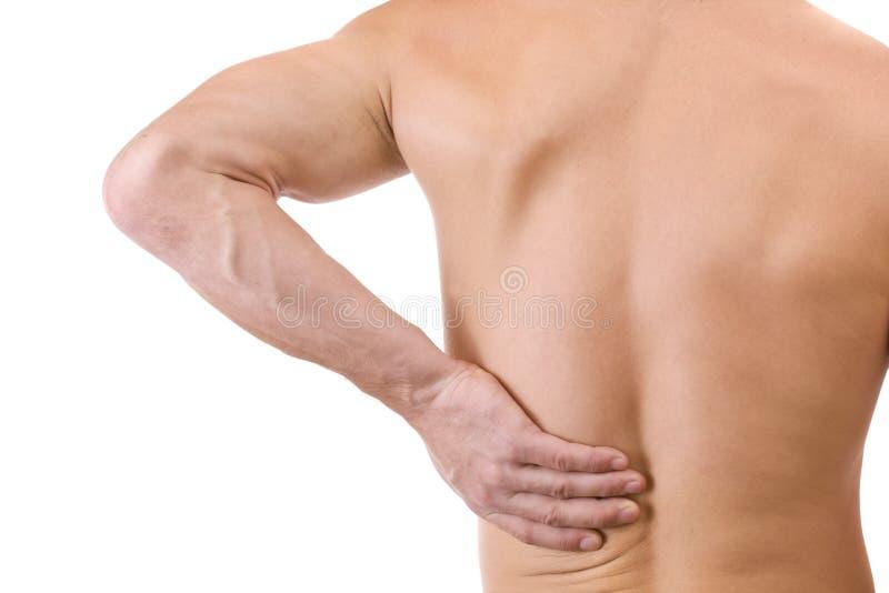 Homem com dor traseira imagem de stock