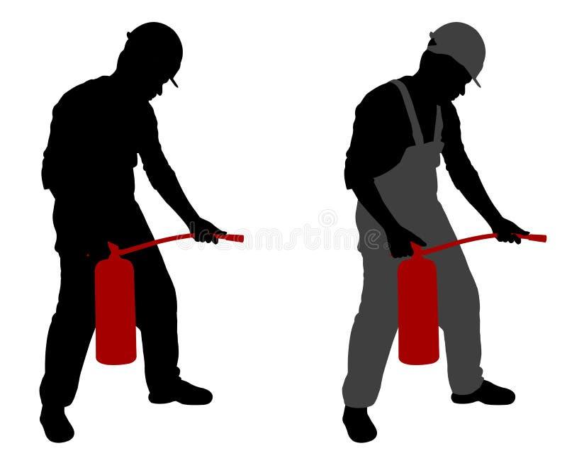 Homem com extintor ilustração royalty free