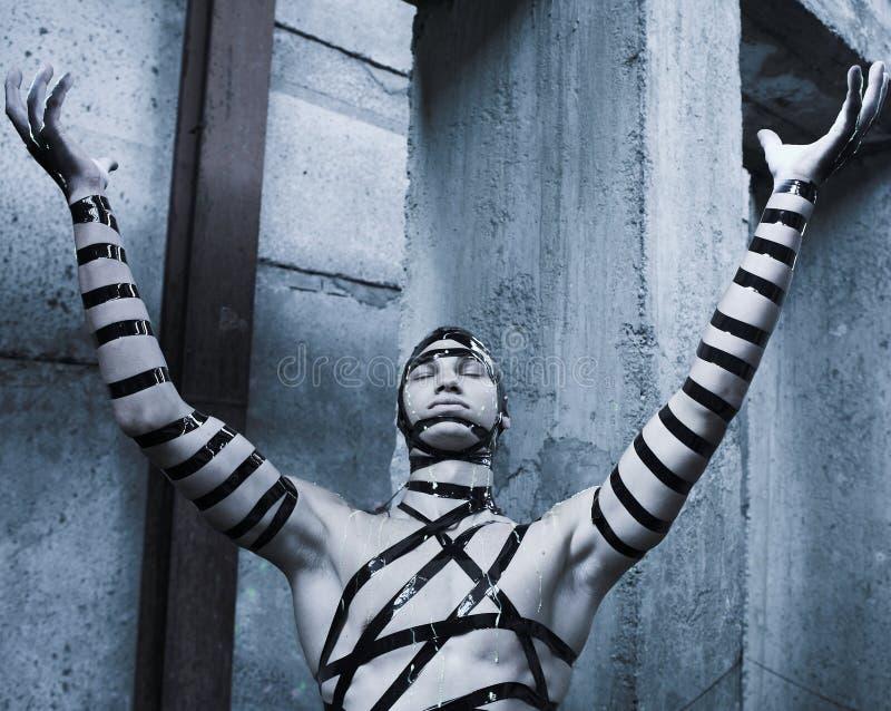 Homem com face-arte creativa. imagem de stock royalty free