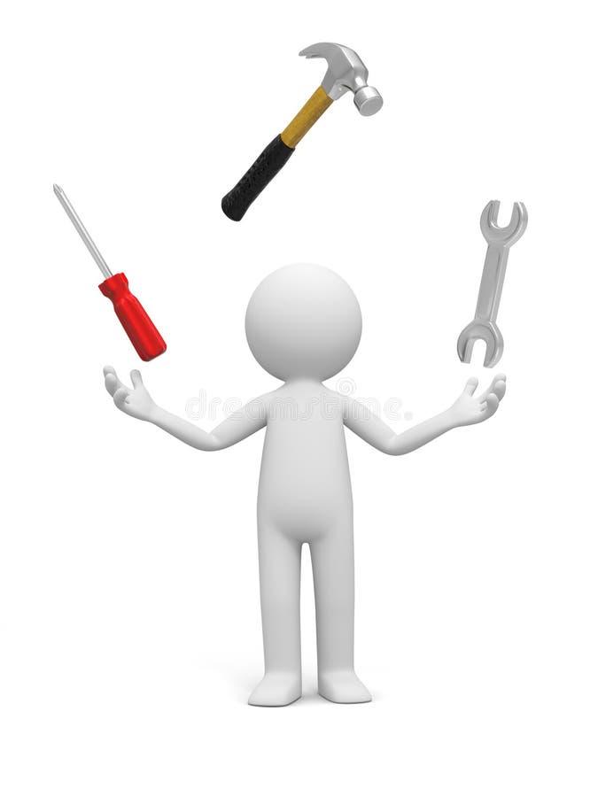 Homem com ferramenta ilustração stock