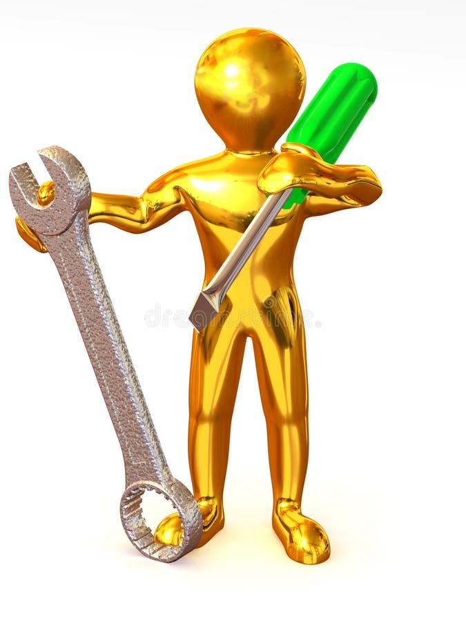 Homem com ferramentas ilustração royalty free