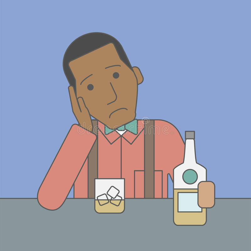Homem com garrafa e vidro ilustração do vetor