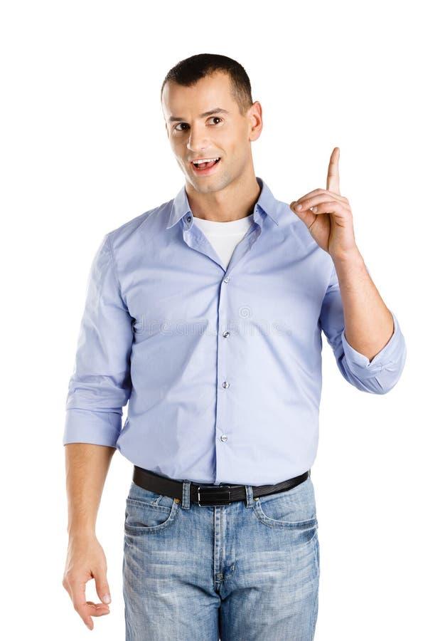 Homem com gesto do forefinger foto de stock royalty free