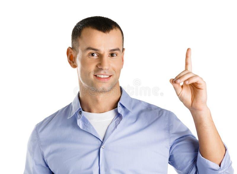 Homem com gesto do forefinger imagem de stock