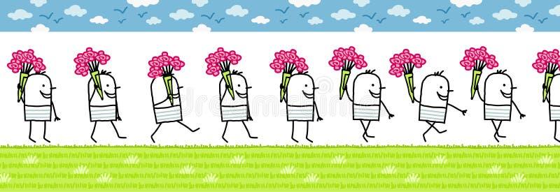 Homem com grupo de flores ilustração do vetor