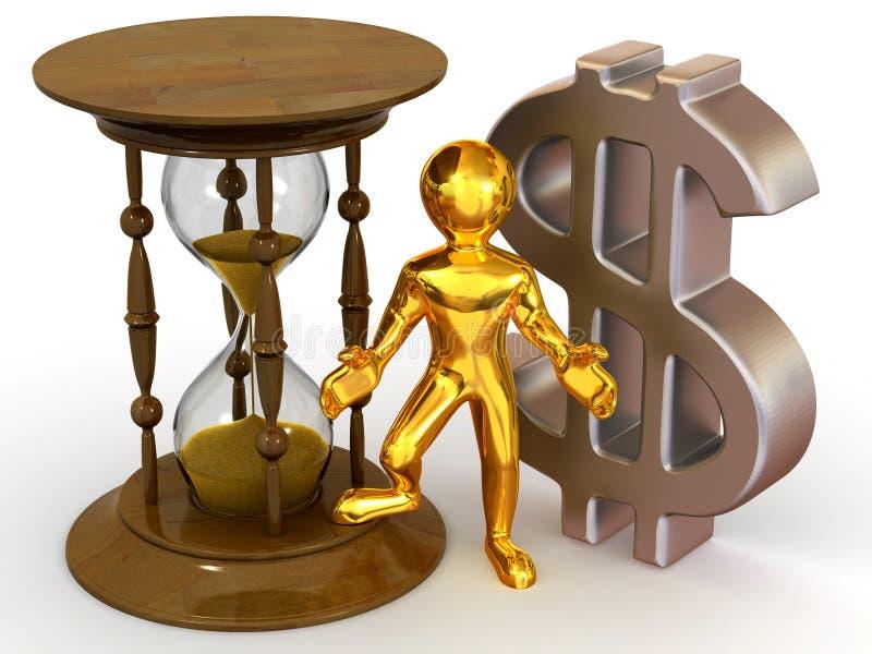Homem com hourglass e dólar ilustração do vetor