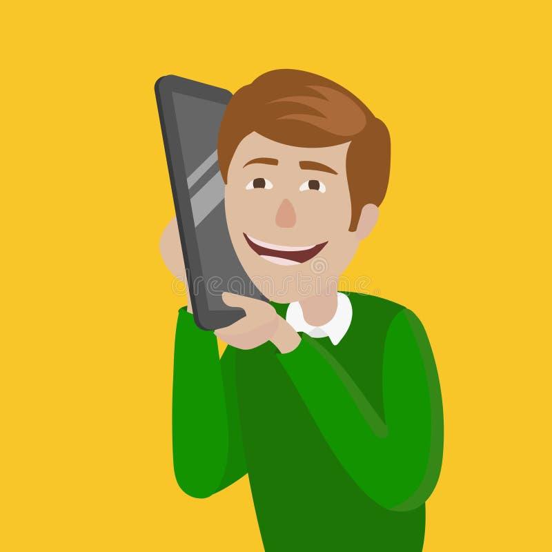 Homem com ilustração esperta enorme do vetor do telefone ilustração do vetor