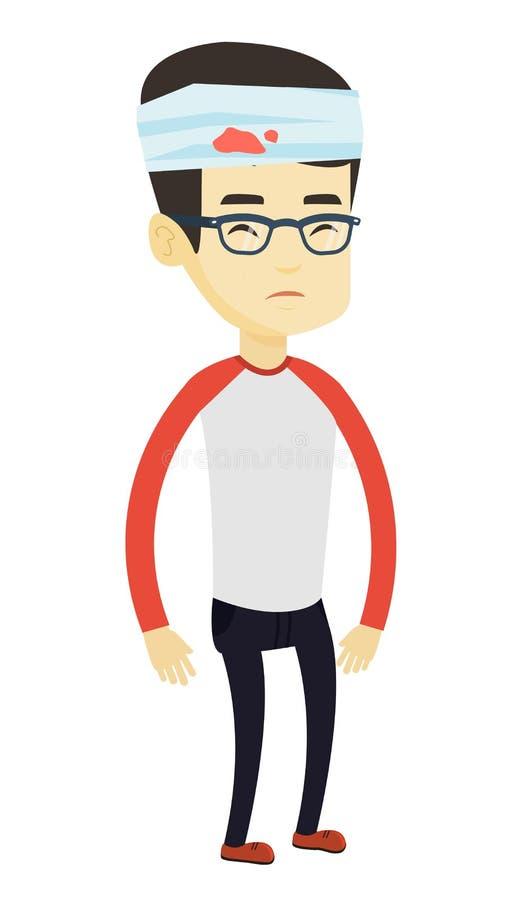 Homem com ilustração principal ferida do vetor ilustração stock