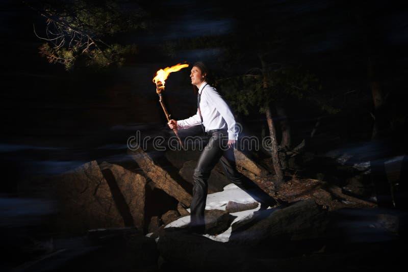 Homem com incêndio fotos de stock