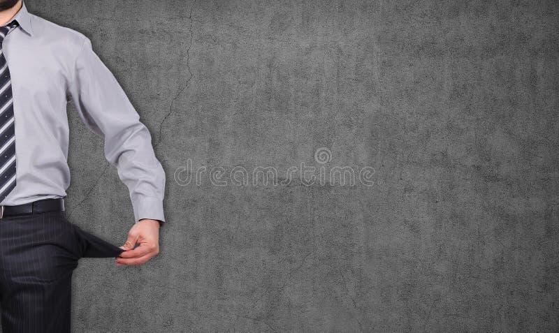 Homem com interior girado bolsos - para fora fotos de stock royalty free