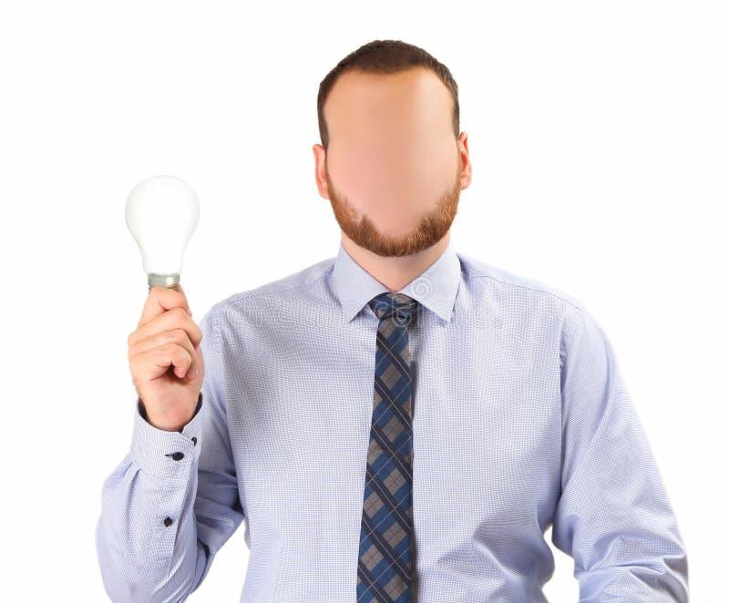 Homem com lâmpada imagens de stock royalty free