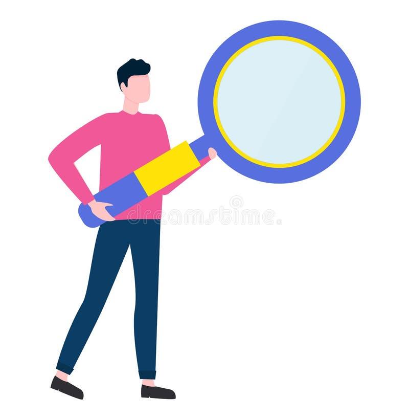 Homem com lupa grande, análise masculina ilustração stock