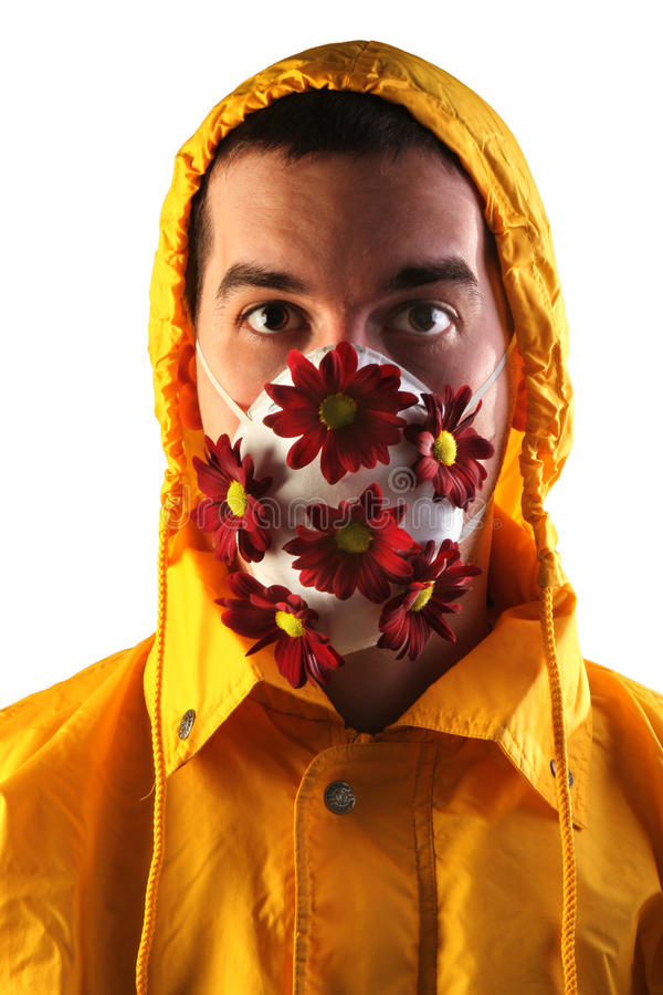 Homem com máscara da flor fotos de stock