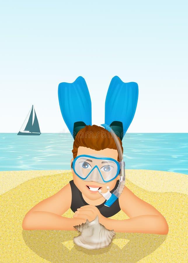 Homem com máscara e aletas do mergulhador ilustração royalty free