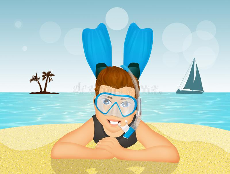 Homem com máscara e aletas do mergulhador ilustração do vetor