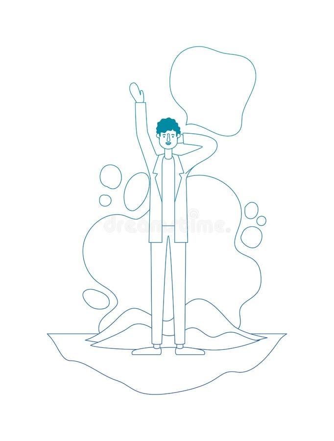 Homem com m?o acima de e bolha do discurso ilustração royalty free