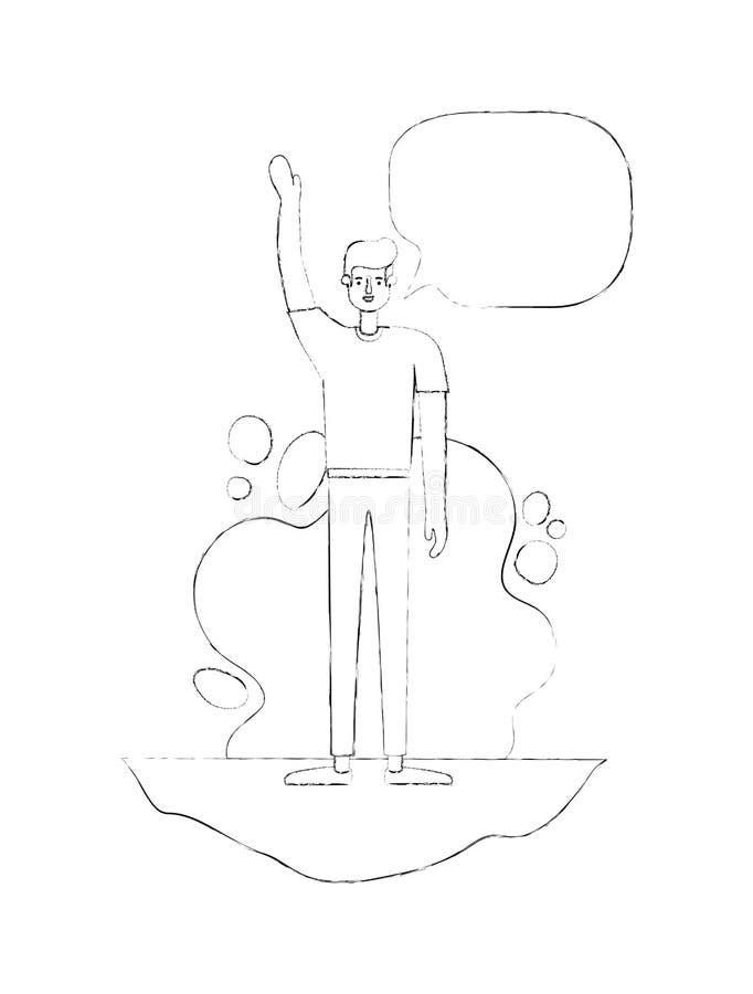 Homem com m?o acima de e bolha do discurso ilustração stock