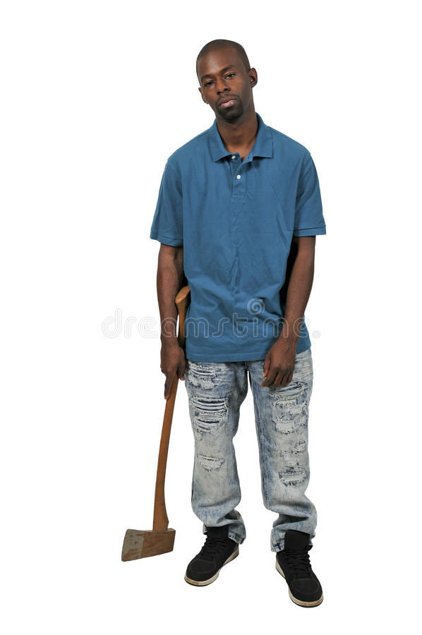 Homem com machado imagem de stock
