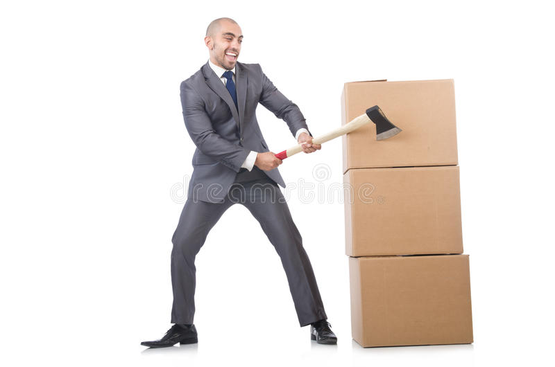 Homem com machado e caixas imagens de stock royalty free