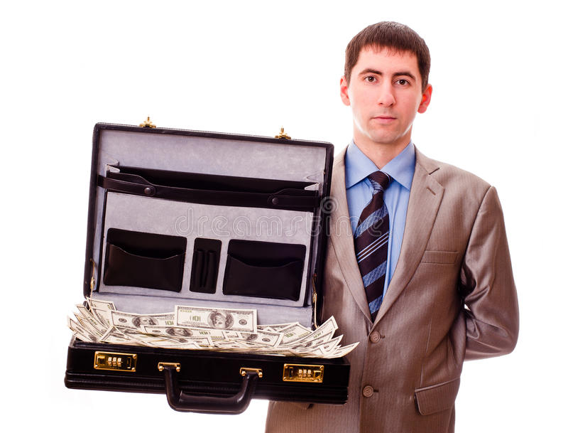 Homem com a mala de viagem cheia do dinheiro fotos de stock