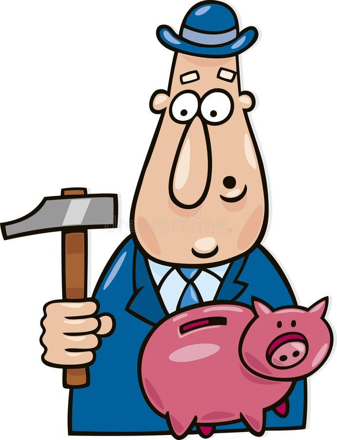 Homem com martelo e o banco piggy ilustração royalty free