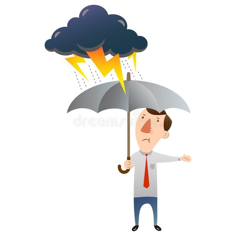 Homem com mau tempo ilustração do vetor
