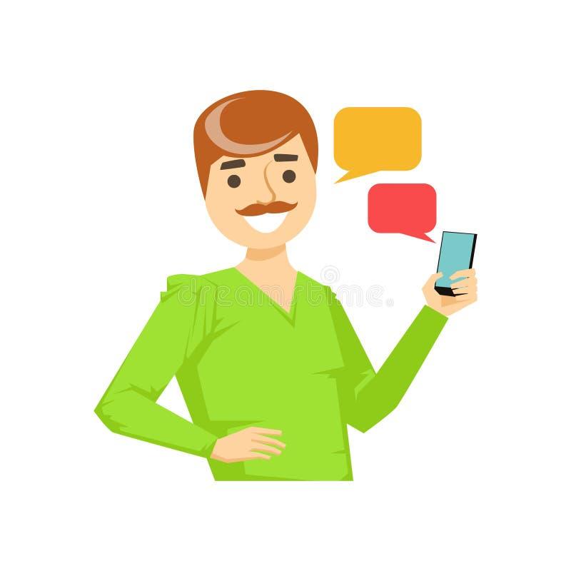 Homem com mensagens Texting do bigode, parte dos povos que falam na série do telefone celular ilustração stock