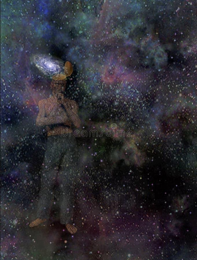 Homem com mente da galáxia ilustração do vetor