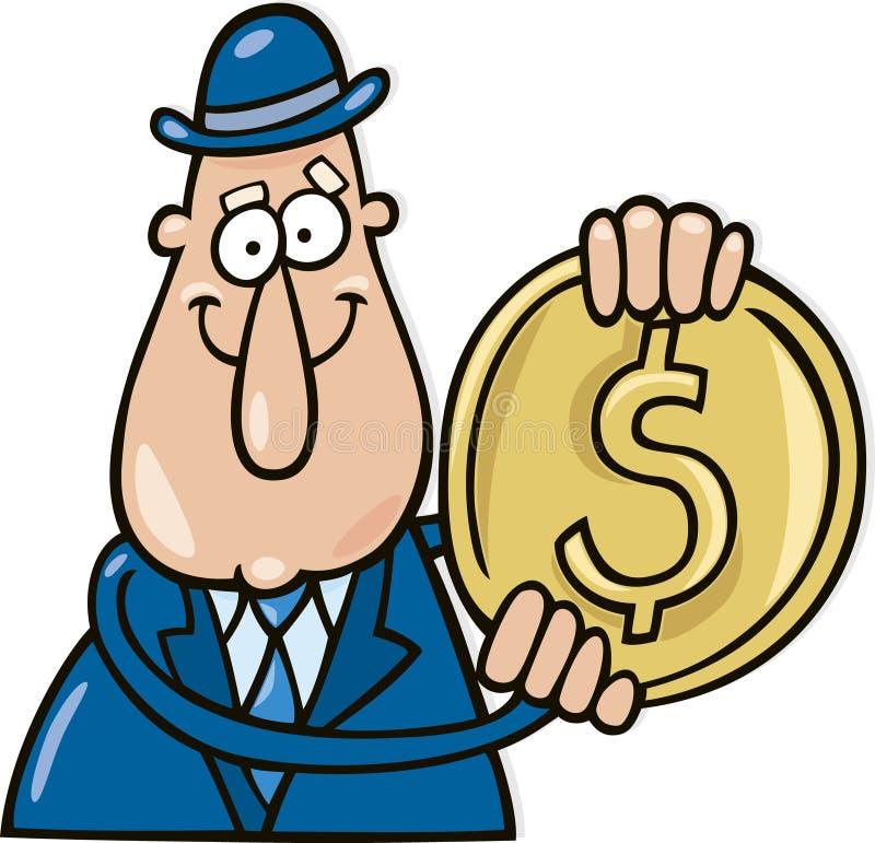 Homem com moeda do dólar ilustração do vetor