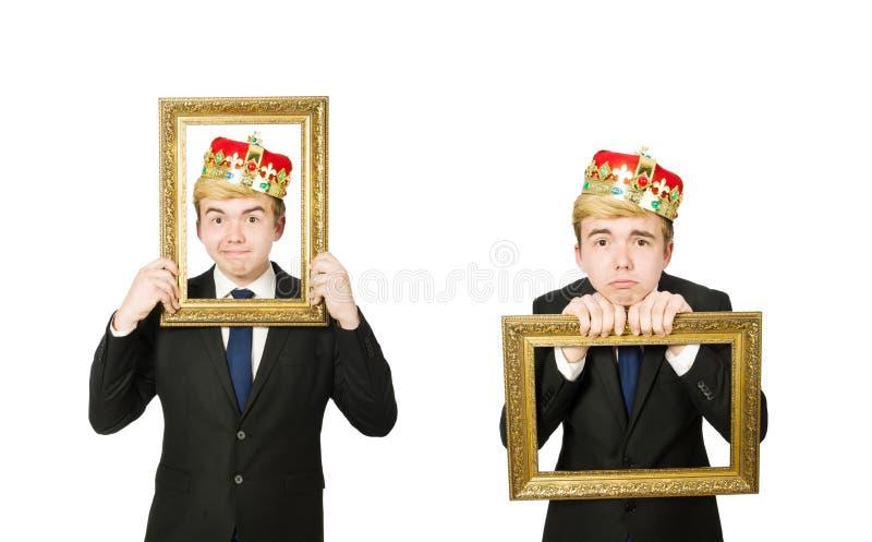 Homem com a moldura para retrato isolada no branco fotos de stock royalty free