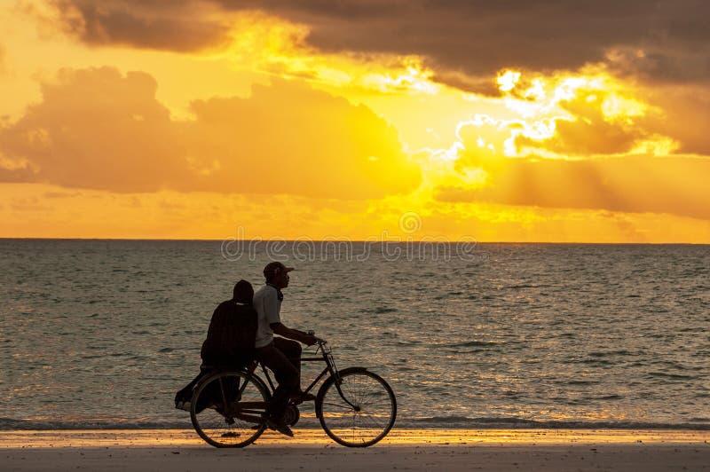 Homem com a mulher que monta pela bicicleta no por do sol ao longo da costa do oceano, Zanzibar Tanzânia imagem de stock royalty free