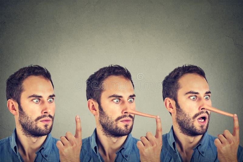 Homem com nariz longo Conceito do mentiroso imagem de stock royalty free