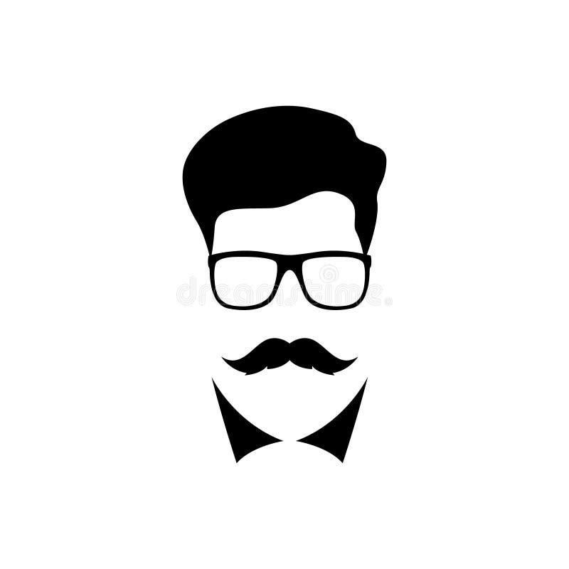 Homem com o bigode que veste uns vidros ilustração stock