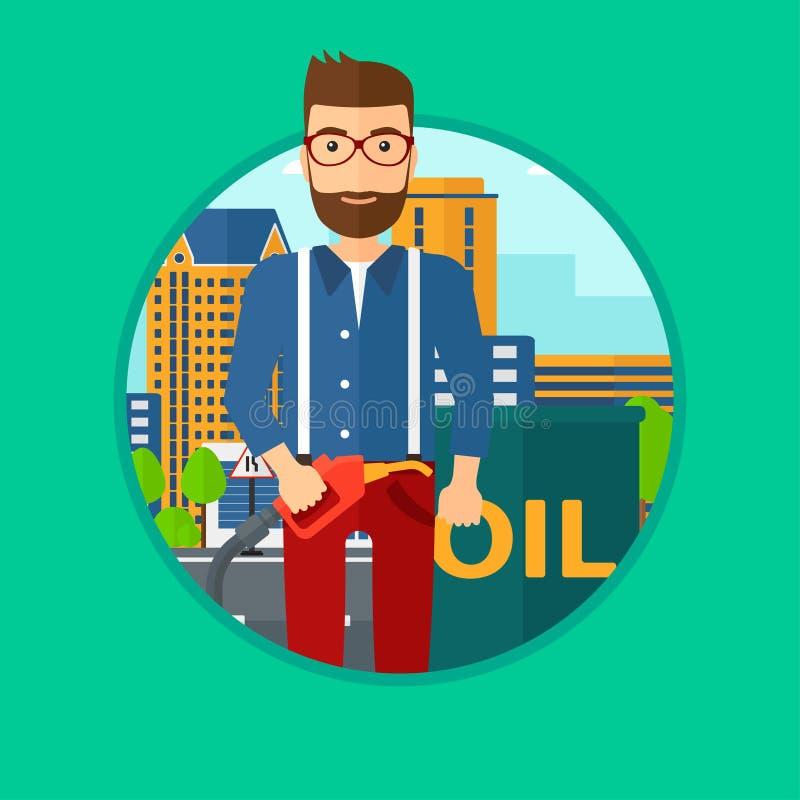 Homem com o bocal do tambor de óleo e da bomba de gás ilustração do vetor