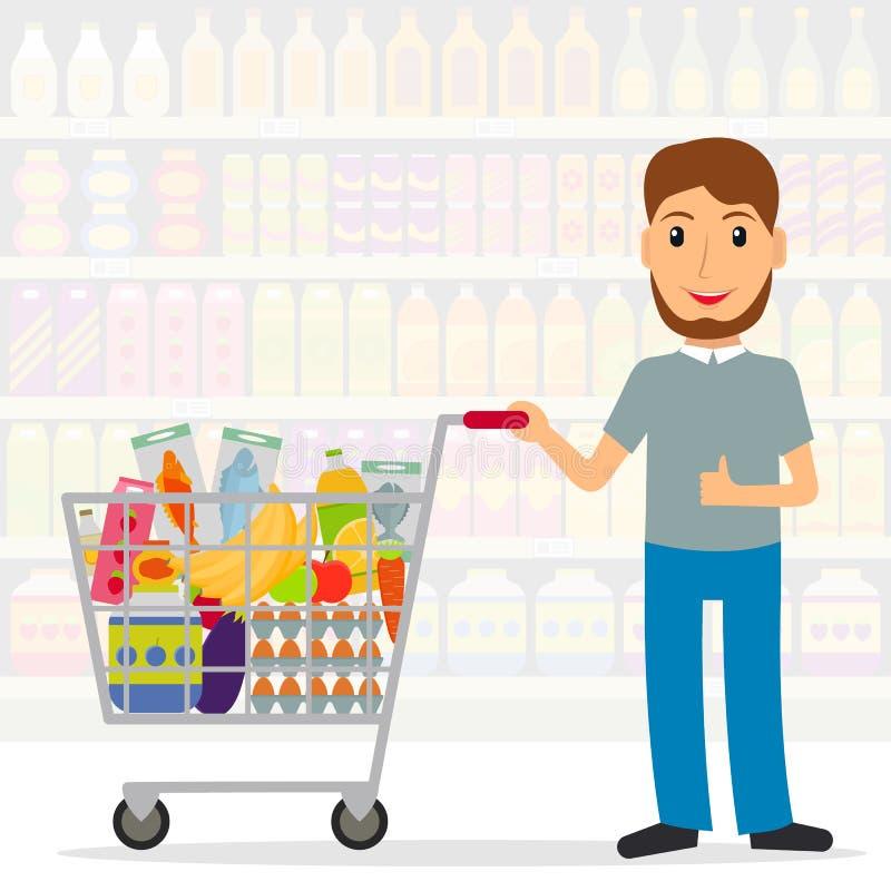 Homem com o carrinho de compras com alimentos no mantimento ilustração do vetor