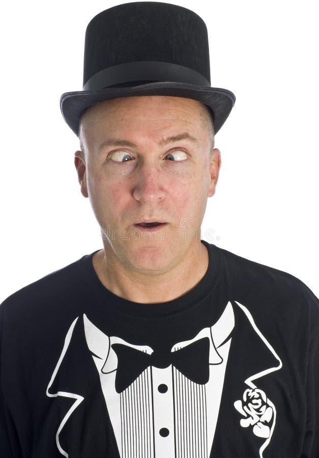 Homem com o chapéu negro Cross-eyed foto de stock royalty free