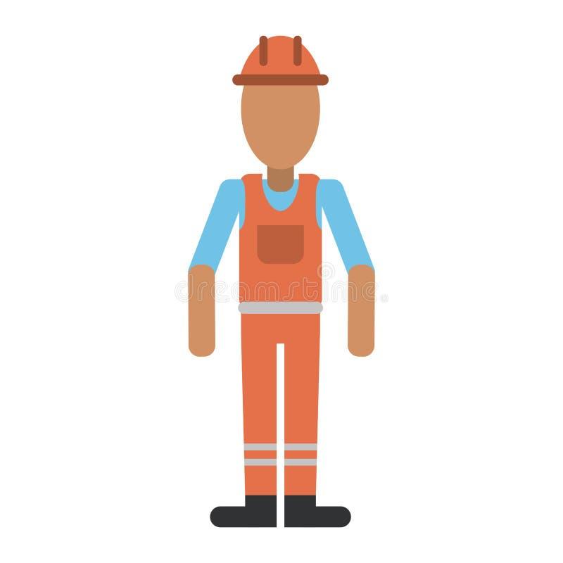 Homem com o contratante uniforme do profissional do trabalho do capacete ilustração royalty free