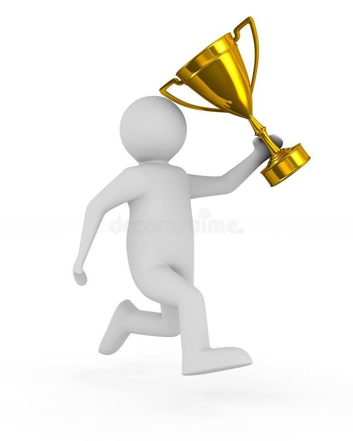Homem com o copo do troféu no fundo branco Illustratio 3D isolado ilustração stock