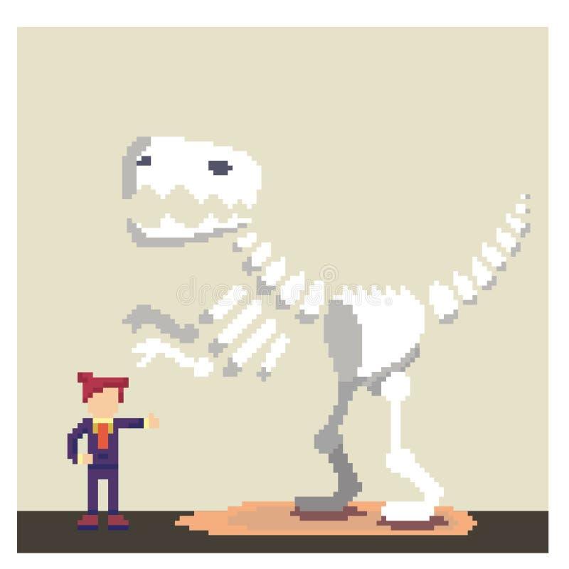 Homem com o fóssil de dinossauro na arte do pixel ilustração do vetor
